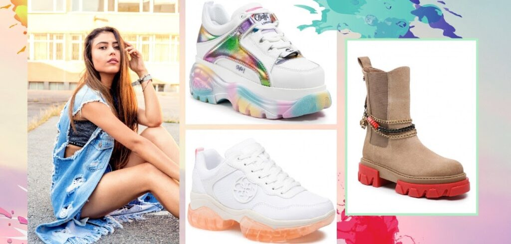 Fénykép montázs egy modellel és különböző cipőkkel